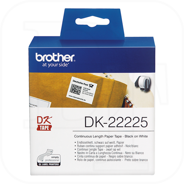 Brother DK-22225 Endlos-Etikett, Papier weiß 38mm